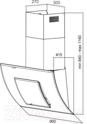 Вытяжка декоративная Grand Valencia 90 (HC9298F-S) - технический чертеж
