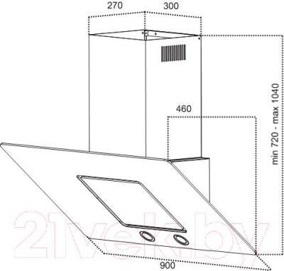 Вытяжка декоративная Grand HC9225F-B - технический чертеж