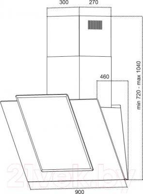 Вытяжка декоративная Grand HC9225F-W - технический чертеж
