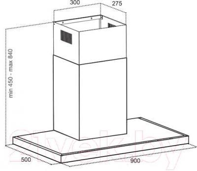 Вытяжка Т-образная Grand HC9222E-S - технический чертеж
