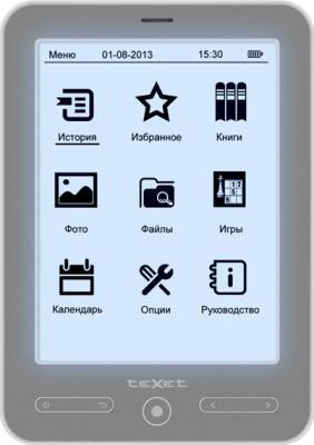 Электронная книга TeXet TB-536FL (серый) - фронтальный вид