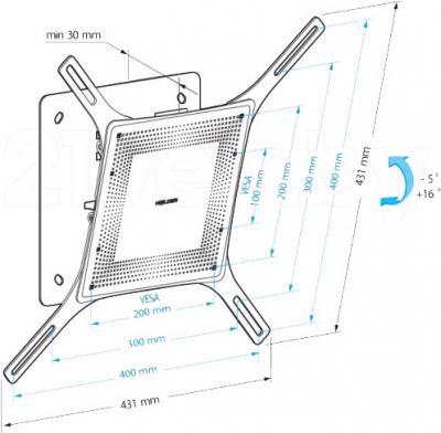 Кронштейн для телевизора Holder LCD-T4802М-B - габаритные размеры