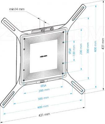 Кронштейн для телевизора Holder LCD-F4801М-B - габаритные размеры