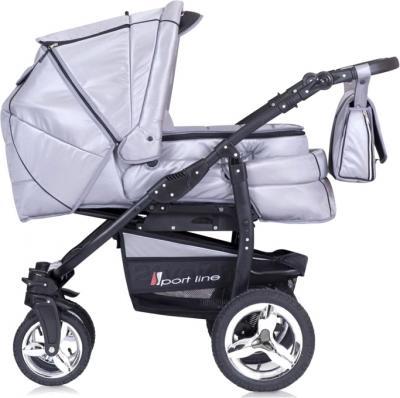 Детская универсальная коляска Riko Laser (Cafe Latte) - люлька сбоку (цвет Silver)