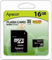 Карта памяти Apacer microSDHC UHS-I (Class 10) 16GB + адаптер (AP16GMCSH10U1-R) -