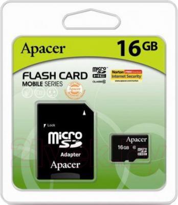 Карта памяти Apacer microSDHC UHS-I (Class 10) 16GB + адаптер (AP16GMCSH10U1-R) - общий вид