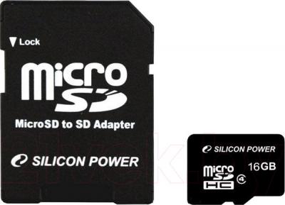 Карта памяти Silicon Power microSDHC (Class 4) 16 Gb (SP016GBSTH004V10-SP) - общий вид