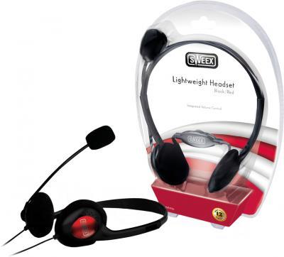 Наушники-гарнитура Sweex HM406 (черно-красный) - общий вид