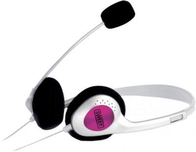 Наушники-гарнитура Sweex HM408 (бело-розовый) - общий вид