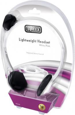 Наушники-гарнитура Sweex HM408 (бело-розовый) - вид в упаковке