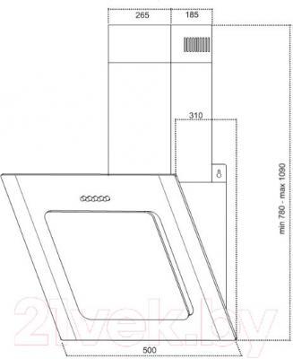 Вытяжка декоративная Germes Delta Decor (50, черный) - технический чертеж