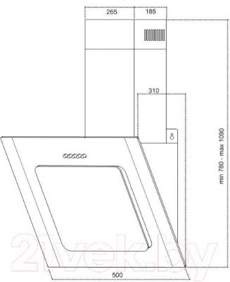Вытяжка декоративная Germes Delta Decor (50, белый) - технический чертеж