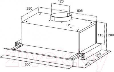 Вытяжка телескопическая Germes Stash (60, алюминий) - технический чертеж
