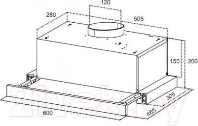Вытяжка телескопическая Germes Stash Plus (60, алюминий) - технический чертеж