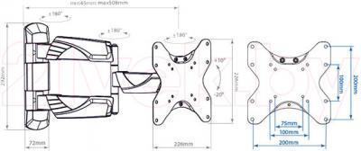 Кронштейн для телевизора Arm Media Cobra-206 (White) - габаритные размеры