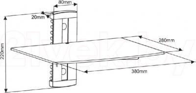Кронштейн под аппаратуру Arm Media DVD-100 (Black) - габаритные размеры