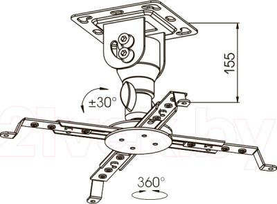 Кронштейн для проектора Kromax Projector-10 (темно-серый) - габаритные размеры