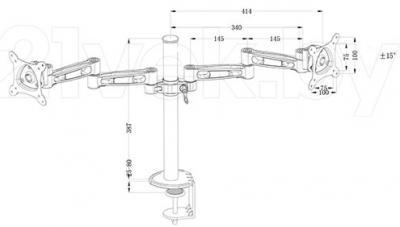 Кронштейн для телевизора Tuarex ALTA-3006 (Dark Gray) - габаритные размеры