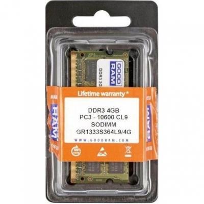 Оперативная память DDR3 Goodram 4GB DDR3 SO-DIMM PC3-10600 (GR1333S364L9/4G) - общий вид