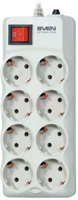 Сетевой фильтр Sven Surge Protector Optima Pro 1.8 (бежево-серый, 8 розеток) - общий вид