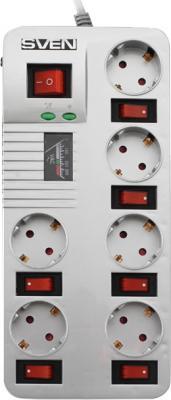 Сетевой фильтр Sven Surge Protector Fort Pro 1.8 (серебристый, 6 розеток) - общий вид