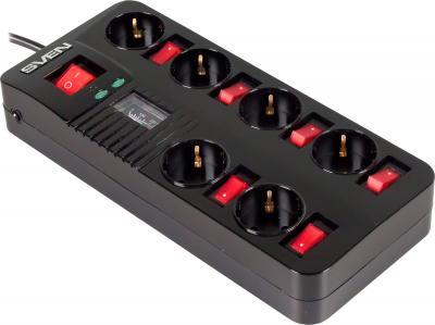Сетевой фильтр Sven Surge Protector Fort Pro 1.8 (черный, 6 розеток) - общий вид