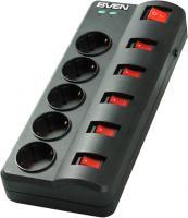 Сетевой фильтр Sven Surge Protector Fort 1.8 (черный, 5 розеток) -