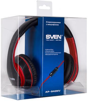 Наушники-гарнитура Sven AP-940MV (черно-красный) - в упаковке