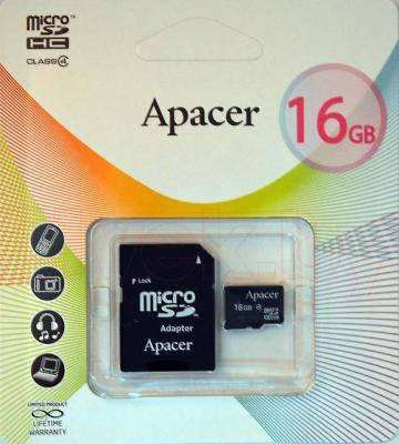 Карта памяти Apacer microSDHC (Class 4) 16GB + адаптер (AP16GMCSH4-R) - общий вид