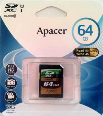 Карта памяти Apacer SDXC UHS-1 (Class 10) 64GB (AP64GSDXC10-R) - общий вид