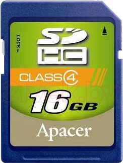 Карта памяти Apacer SDHC (Class 4) 16GB (AP16GSDHC4-R) - общий вид