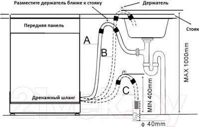 Посудомоечная машина Zigmund & Shtain DW 69.6009 X - схема установки