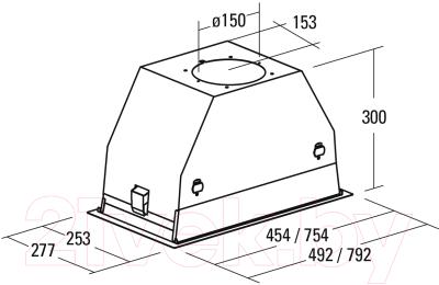 Вытяжка скрытая Cata GC Dual BK 75X