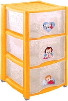 Комод пластиковый Пластишка 4313428 (3 ящика, желтый) - общий вид
