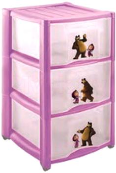 Комод пластиковый Пластишка Маша и Медведь 4313795 (3 ящика, сиреневый) - общий вид