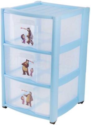 Комод пластиковый Пластишка Маша и Медведь 4313795 (3 ящика, голубой) - общий вид