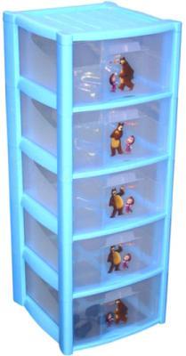 Комод пластиковый Пластишка Маша и Медведь 4313797 (5 ящиков, голубой) - общий вид