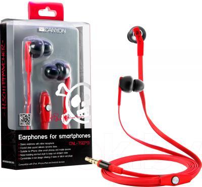 Наушники-гарнитура Canyon CNL-TSEP01 (Black-Red) - общий вид и упаковка