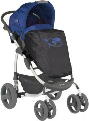 Детская универсальная коляска Lorelli Avio (Gray Blue World) - с чехлом для ног