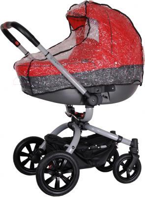 Детская универсальная коляска Coletto Messina 3 в 1 (красно-серый) - с дождевиком