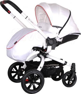 Детская универсальная коляска Coletto Messina 3 в 1 (бело-красный) - с чехлом для ног