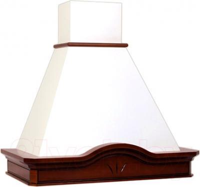 Вытяжка купольная Elikor Ампир 90 (белый муар/бук коричневый) - общий вид