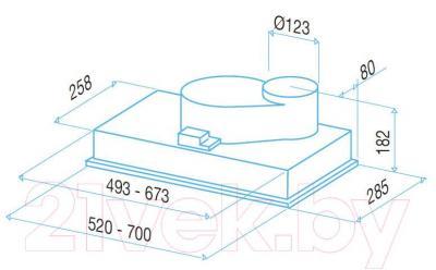 Вытяжка скрытая Best P720 70 (серый металлик) - габаритные размеры