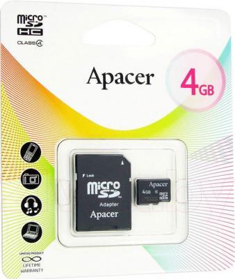 Карта памяти Apacer microSDHC (Class 4) 4GB + адаптер (AP4GMCSH4-R) - общий вид