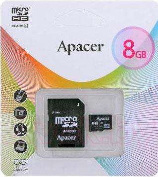 Карта памяти Apacer microSDHC (Class 10) 8GB + адаптер (AP8GMCSH10-R) - общий вид