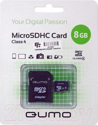 Карта памяти Qumo microSDHC (Class 4) 8GB + адаптер (QM8GMICSDHC4) - общий вид