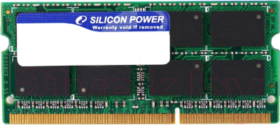 Оперативная память DDR3 Silicon Power 4GB DDR3 SO-DIMM PC3-10600 (SP004GBSTU133N02)