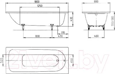 Ванна стальная Kaldewei Saniform Plus 375-1 180x80