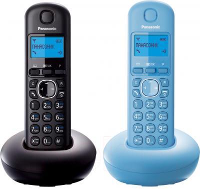 Беспроводной телефон Panasonic KX-TGB212 (черный/голубой) - общий вид