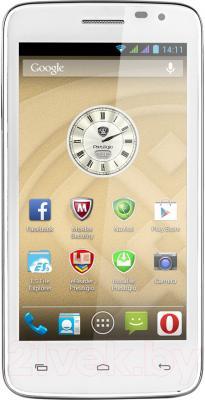 Смартфон Prestigio MultiPhone 3501 Duo (белый) - вид спереди